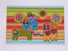CATS Laurel Burch Style Quilted Postcard  warm by postquilts, $6.00