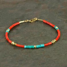 Genuine Red Coral and Blue Turquoise Heishi Bracelet with Gold Fill, Handmade Real Coral Gemstone Bracelet, Multicolored Slim Bracelet This handmade gemstone heishi bracelet features beautiful genuine bright red coral beads (small tubes or wide heishi) Diy Jewelry, Gemstone Jewelry, Beaded Jewelry, Jewelry Bracelets, Handmade Jewelry, Women Jewelry, Jewelry Design, Jewelry Making, Jewellery