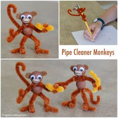 Pipe Cleaner Monkeys – Frugal Fun For Boys and Girls - kids craft Easy Crafts For Kids, Cute Crafts, Toddler Crafts, Projects For Kids, Diy For Kids, Beach Crafts, Jar Crafts, Summer Crafts, Art Projects