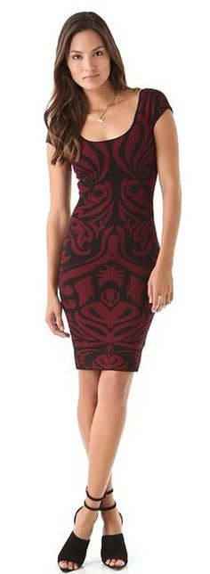 NWT Torn by Ronny Kobo Stella Baroque Dress Long Sleeeve Black and Red Size XS  #TornbyRonnyKobo #StretchBodycon #Cocktail