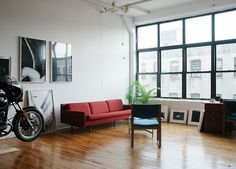 Simple modern living room of Renato DAgostins studio in Brooklyn, NY. Industrial Interior Design, Industrial Interiors, Interior Exterior, Interior Architecture, Home Living, Living Spaces, Studio Living, City Living, Living Rooms