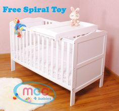 Solid Wooden Baby Cotbed Cot Bed Toddler with Top Changer & Premier Water repellent Mattress Made in England