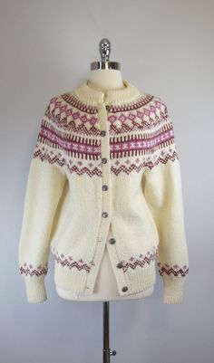 vintage nordic sweater / fair isle cardigan / by archetypevintage Norwegian Knitting, Fair Isle Knitting Patterns, Nordic Sweater, Icelandic Sweaters, Hand Knitted Sweaters, Knitting For Kids, Sweater Design, Camila, Girls Sweaters