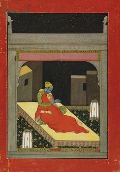 Krishna and Radha Enjoy a Winter's Evening on the Roof Terrace in the month of Margashirsha (November–December): Folio from a Baramasa Series