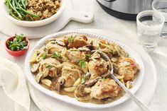 Instant Pot ® Chicken and Mushroom in Roasted Garlic Sauce Recipe Roasted Garlic Sauce Recipe, Garlic Sauce For Chicken, Pressure Cooker Chicken, Pressure Cooker Recipes, Cambells Recipes, Campbells Soup Recipes, Mushroom Soup Recipes, Cooking Recipes, Healthy Recipes