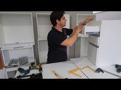 Como colocar frente em gavetas de moveis planejados - Armário de Cozinha - YouTube Desk, Pallets, Furniture, Youtube, Home Decor, Carpentry, Woodworking, Wooden Drawers, Wooden Crafts