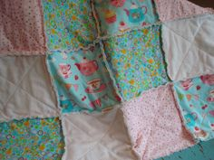 RAG QUILT THROW  Square - pretty sweet cottage aqua pink tea party ready!! by NorthernCottage - SALE - ready to snuggle up?