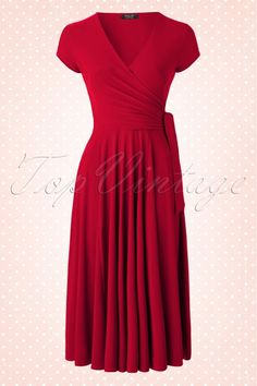 Vintage Chic - TopVintage exclusive ~ Layla Cross Over Dress in Atlas Red Vintage Tops, Vintage Dresses, Nice Dresses, Casual Dresses, Dresses For Work, 50s Dresses, Retro Outfits, Vintage Outfits, Cool Outfits