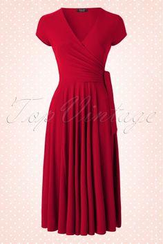 Vintage Chic - TopVintage exclusive ~ Layla Cross Over Dress in Atlas Red Vintage Tops, Vintage Dresses, Nice Dresses, Casual Dresses, Dresses For Work, 50s Dresses, Retro Outfits, Vintage Outfits, Cool Outfits