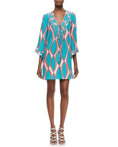 India Tie-Neck Printed Dress at CUSP.