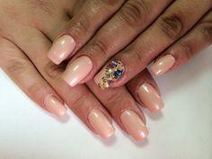 Beautiful nails 2016, Evening dress nails, Gold casting nails design, Milky nails, Nails with gold, Nails with rhinestones, Nails with stones, Pale nails 2016