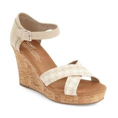 """TOMS Platform Wedge Sandal, 3 3/4"""" heel ($52) ❤ liked on Polyvore featuring shoes, sandals, natural woven, cork platform sandals, platform wedge shoes, braided sandals, woven wedge sandals and ankle wrap wedge sandals"""