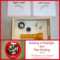 Montessori Monday – Building a Flashlight and Pipe Building from Montessori at Home! Montessori Monday – Building a Flashlight and Pipe Building from Montessori at Home! Montessori Trays, Montessori Science, Montessori Practical Life, Montessori Education, Learning Centers, Learning Activities, Teaching Resources, Tot Trays, Pre Kindergarten
