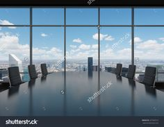Conference Room. Modern Office With Windows And City View. 写真素材 227545312 : Shutterstock