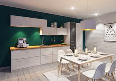Tumman vihreä on noussut suosioon sisustuksessa. AINA-keittiökalusteet saa yli 8000 eri sävyssä! Corner Desk, Conference Room, Table, Furniture, Home Decor, Corner Table, Decoration Home, Room Decor, Tables