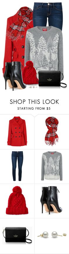 """""""Winter Scene Sweater"""" by snickersmother ❤ liked on Polyvore featuring Warehouse, Frame, George, Ralph Lauren, RGB, Gianvito Rossi and Kate Spade"""