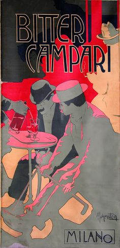 Bitter Campari, Milano, Vintage Poster, Italy, Italian excellence