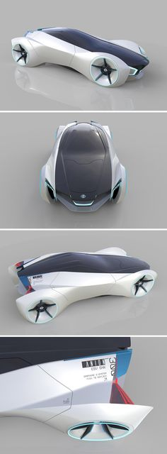 """The Anion is futuristic design study of a two-seater Nissan that aims to redefine the """"sports car"""" for generation Z in 2030. Its design is focused on lightness, purity, and an iconic geometric form… but its what's powering it that sets it apart. It utilizes a technology developed by Grabat Energy in the form of graphene batteries that increase power capacity while reducing size. These batteries are lighter and more compact to optimize space and reduce consumption."""
