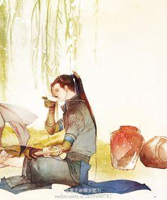 nhớ người đi không tiễn người về..............sầu trăm mối vẫn hoài suy niệm........nghĩ làm sao dứt bỏ được chữ tình...........cố nhân xưa đã quên tự bao giờ Chinese Artwork, Japanese Artwork, Boy Illustration, China Art, Creative Pictures, Boy Art, Manga Drawing, Ancient Art, Anime Style