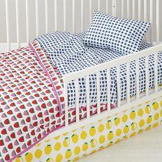 Farmer's Market Fruit Print Baby Quilt | The Land of Nod