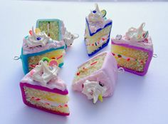 Miniature Cake Slices Polymer Clay Cake Cake by GlitteramaCrafts, £3.95 :: xLaurieClarkex-- even cuter than the ones I make! Love the texture