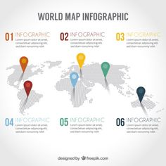 More than a million free vectors, PSD, photos and free icons. Exclusive freebies and all graphic resources that you need for your projects World Map Pin Board, World Map With Pins, Infographic Powerpoint, Timeline Infographic, Map Infographics, Map Design, Graphic Design, Creating A Newsletter, Strategy Map