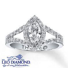 Leo Diamond Ring 1 carat tw Marquise-cut 14K White Gold.  ~~ thepromenadebolingbrook.com