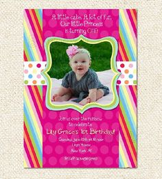 Rainbow Birthday Invitations by LollipopPrints on Etsy, $12.00