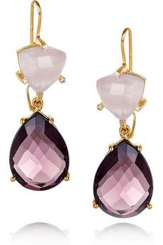 A fabulous fusion of Bollywood glamour and San Francisco cool, Isharya's covetable designs will take every outfit from simple to standout. Make room in your jewelry box for these beautiful 18-karat gold-plated earrings, delicately set with faceted amethyst and rose quartz stones. For pierced ears.