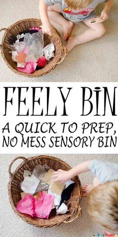 Feely Bin: a quick to prep, no mess sensory bin.