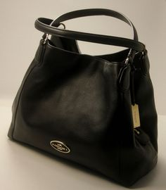NWT COACH 33547 EDIE PEBBLED LEATHER SHOULDER HANDBAG BLACK  Coach   ShoulderBag Handbags On Sale ccbbee88395f5