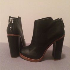 """Dolce Vita Booties black w/ tan leather- size 9 (would fit typical 8.5, they run snug)-heel is 5""""- no shoe box included- never been worn, perfect condition! Dolce Vita Shoes Ankle Boots & Booties"""