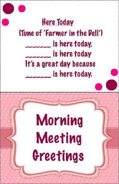 Morning Meeting Greetings Styled
