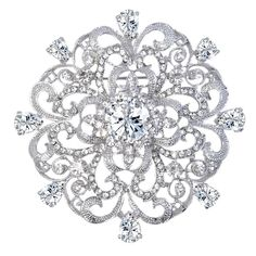 Wedding Silver-Tone Fleur-de-lis Flower Brooch Pendant Clear CZ Austrian Crystal - CD11BGDKIVD - Brooches & Pins  #jewellrix #Brooches #Pins #jewelry #fashionstyle