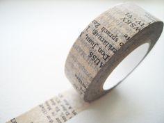 Japanese Washi Masking Tape - Old Book / 15mm / Light Gray. $4.00, via Etsy.