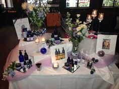 Neal's Yard Remedies display table. Contact me to book your party.  https://us.nyrorganic.com/shop/michaelapope