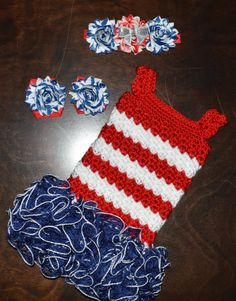 Crochet Fourth of July Patriotic Baby Tutu Dress, Barefoot Sandals