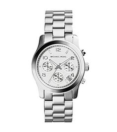 Statement-making yet feminine, this watch mixes design influences to deft effect. With its oversized links, sleek time-stops and chronograph accents, this timepiece conjures the spirit of a classic men's watch and the elegance of a chic timepiece. We love teaming it with a layered ensemble to add a bit of edge. Or, try it with an oversized knit and skinny jeans for full-on, borrowed-from-the-boys style.