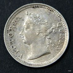 1889 5 cents coin Queen Victoria Straits Settlements