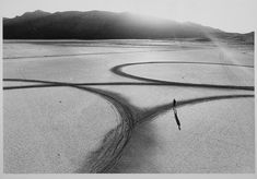 """Michael Heizer's """"Circular Surface, Planar Displacement Drawing,"""" 1969, located at El Mirage Dry Lake Bed. Featured in 'Troublemakers' of Land Art"""
