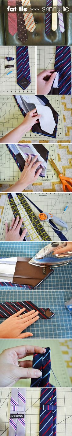 DIY - Turn a regular tie into a skinny tie. Bonus: recycle ones from the thrift store.