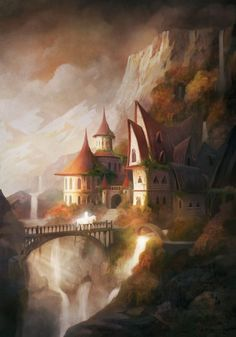 "fantasyartwatch: ""Waterfall Village by Alex Tooth """