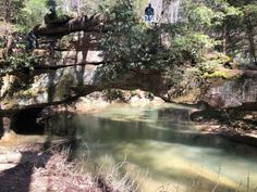 This natural bridge actually spans the creek and is much larger than you'd expect for something tucked away in the woods. Kentucky Hiking, Red River Gorge, Natural Bridge, Trail, Beautiful Places, Road Trip, Water, Outdoor, Woods