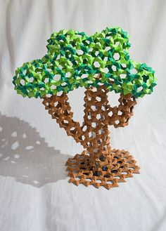 Origami Tree Made Out Of PHiZZ Units Total 510 Green And Around 400 Brown 14 Inches High 12 At Its Widest Point