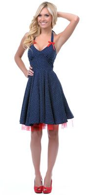 Vintage style dress site. Navy & White Marianna Polka Dot Swing Dress