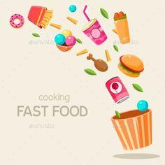 Flying Fast Food Vector Illustration