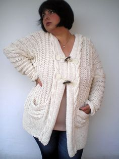 Cream Cabled Cardigan Sweater Trendy Hand Knit by NonnaLia