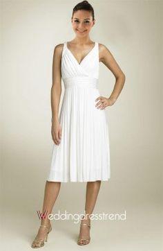 Simple Draped V-neck Tea-length Wedding Dress