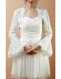Long Bell Sleeve Lace Wedding/Evening Jacket/Wrap (More Colors) – AUD $ 32.88