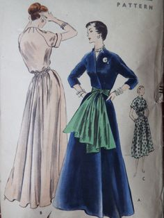ed3d83e58 Vintage 1950s Vogue Gathered Back Full Skirt by FoxVintageUk Evening Gown  Pattern